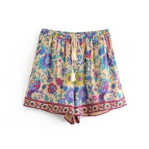 Pants - Gypsy Lovebird Boho Cotton Drawstring Shorts